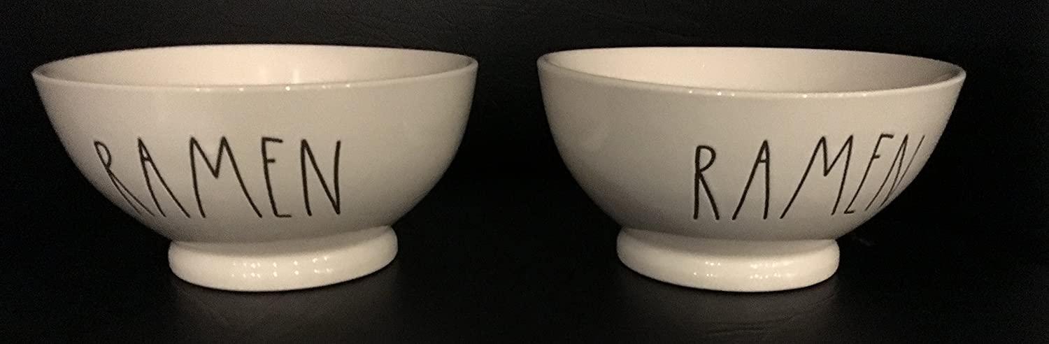 Rae Dunn Artisan Collection By Magenta Set Of 2 Pottery Cereal//Oatmeal Bowls 5.5 Diameter x 3 Deep RAMEN Dishwasher Safe