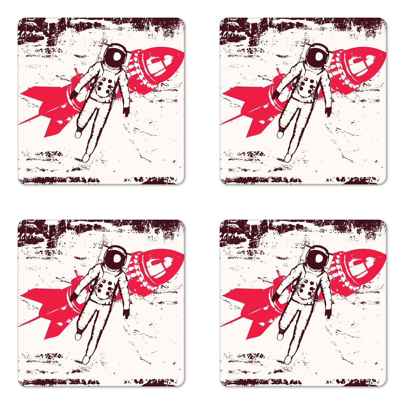 Lunarable Vintage Coaster Set of Four, Retro Space Travel Astronaut Over Planet Earth Original Solar Futuristic Art, Square Hardboard Gloss Coasters for Drinks, Hot Pink Maroon