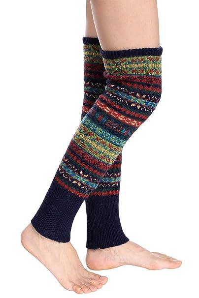 Avidlove rodilla alta calcetines invierno Bohemian para mujer puños de punto ganchillo calentadores de la pierna - - : Amazon.es: Ropa y accesorios