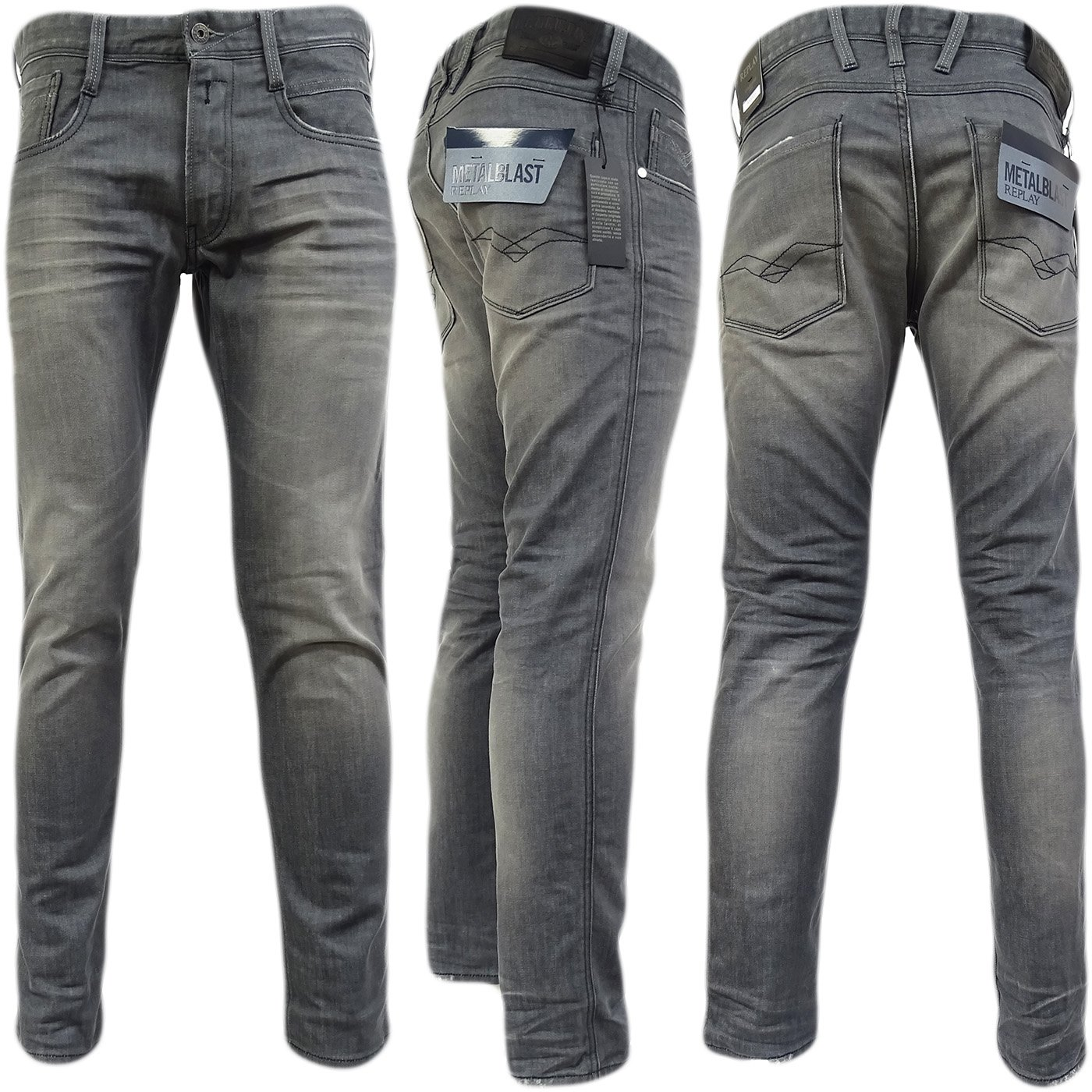 Replay Grey Anbass Slim Fit Grey - M914-21C-166-009 'Anbass' 34/32