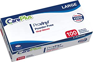 [100 Count] Careplus Disposable Plastic Pro Vinyl Clear Large Gloves, Allergy, Latex And Powder Free, Great For Home Kitchen Or Office Cleaning, Cooking, 1 Box