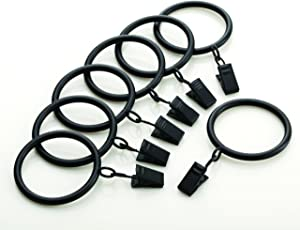 Kenney A58720754 Classic Clip Rings for Rods up to 1-Inch Diameter, Black, 7-Pack