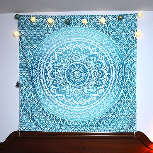 Acraft Turquoise Wall Decor Mandala Tapestry Blue Teal Wall