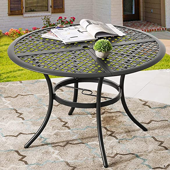 PatioFestival 42. 1″ x 42. 1″ x28. 3″ Round Outdoor Dining Table Space Saving Patio Bistro Table