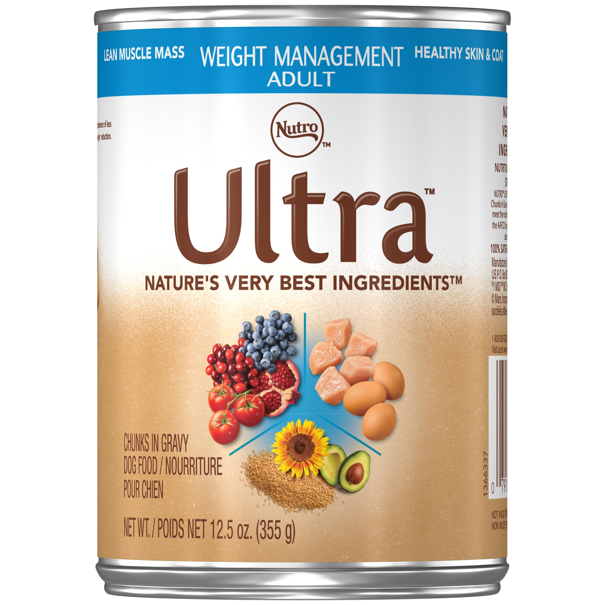 Nutro ULTRA Adult Weight Management Chunks in Gravy Canned Dog Food 12.5 oz. Cans (Pack of 12)