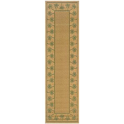Super Area Rugs Indoor/Outdoor Rug Washable Beige Tropical Fauna Patio  Porch Terrace RV Carpet