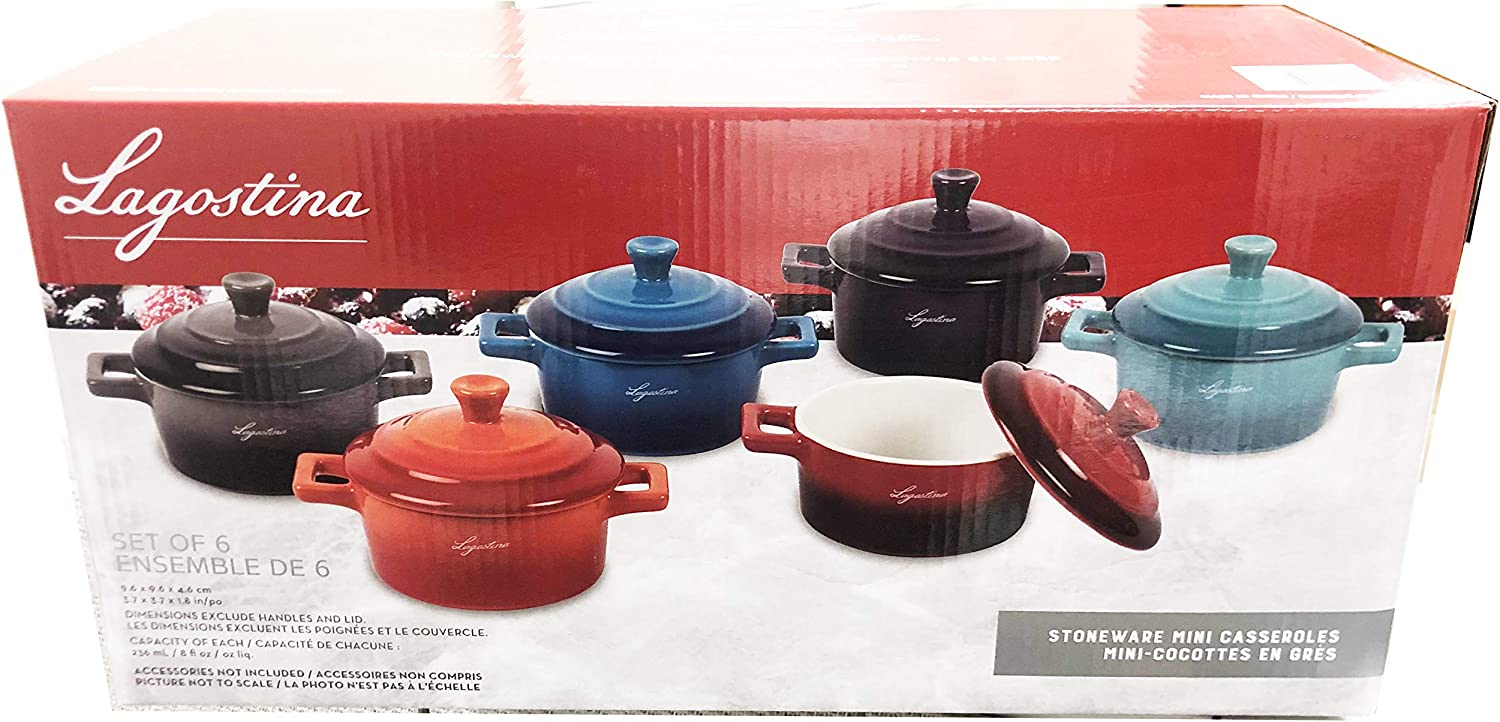 Renewed BW Brands Colorful Stoneware Mini Casserole Pots With Lids Set of 4,Assorted