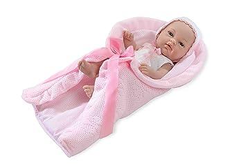 Muñecas Arias - Muñeco elegance natal con toquilla, 33 cm, color rosa (60081
