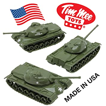 Amazon Com Timmee Toy Tanks For Plastic Army Men Green Ww2 3pc