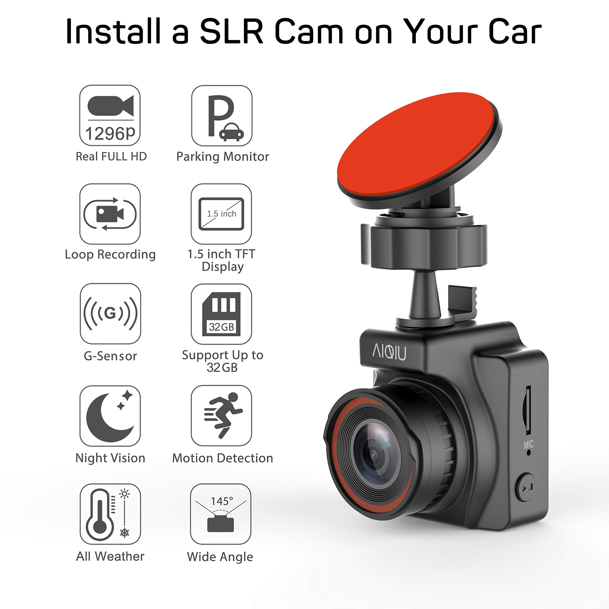 Dash-Cam-AIQIU-C1-1296P-FHD-Car-Driving-Recorder-15-Mini-Night-Vision-Vehicle-Dashboard-Camera-with-G-Sensor-Loop-Recording-WDR-Motion-Detection-Parking-Monitor