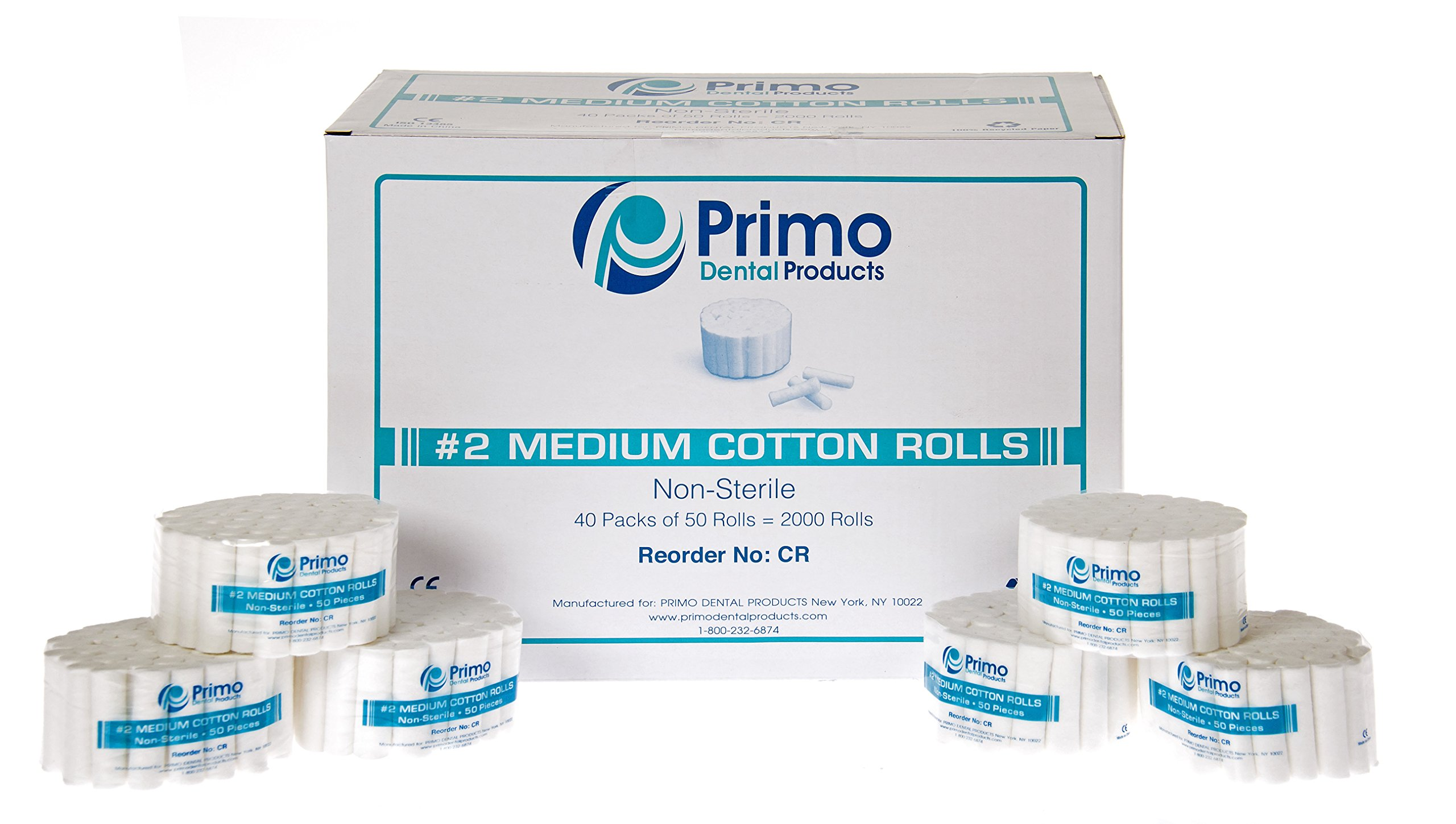 Primo Dental Products CR Cotton Rolls, 2 Medium, 1.5'' Non-Sterile (Pack of 2000)
