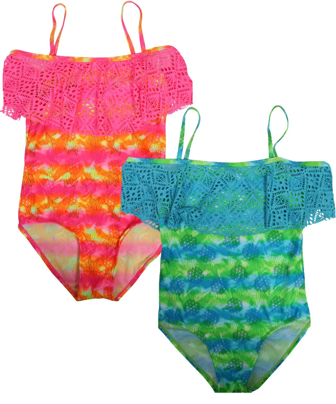 Real Love Girls' 2-Pack One Piece Swimsuit (Little Girls/Big Girls), Pineapple, Size 6X'