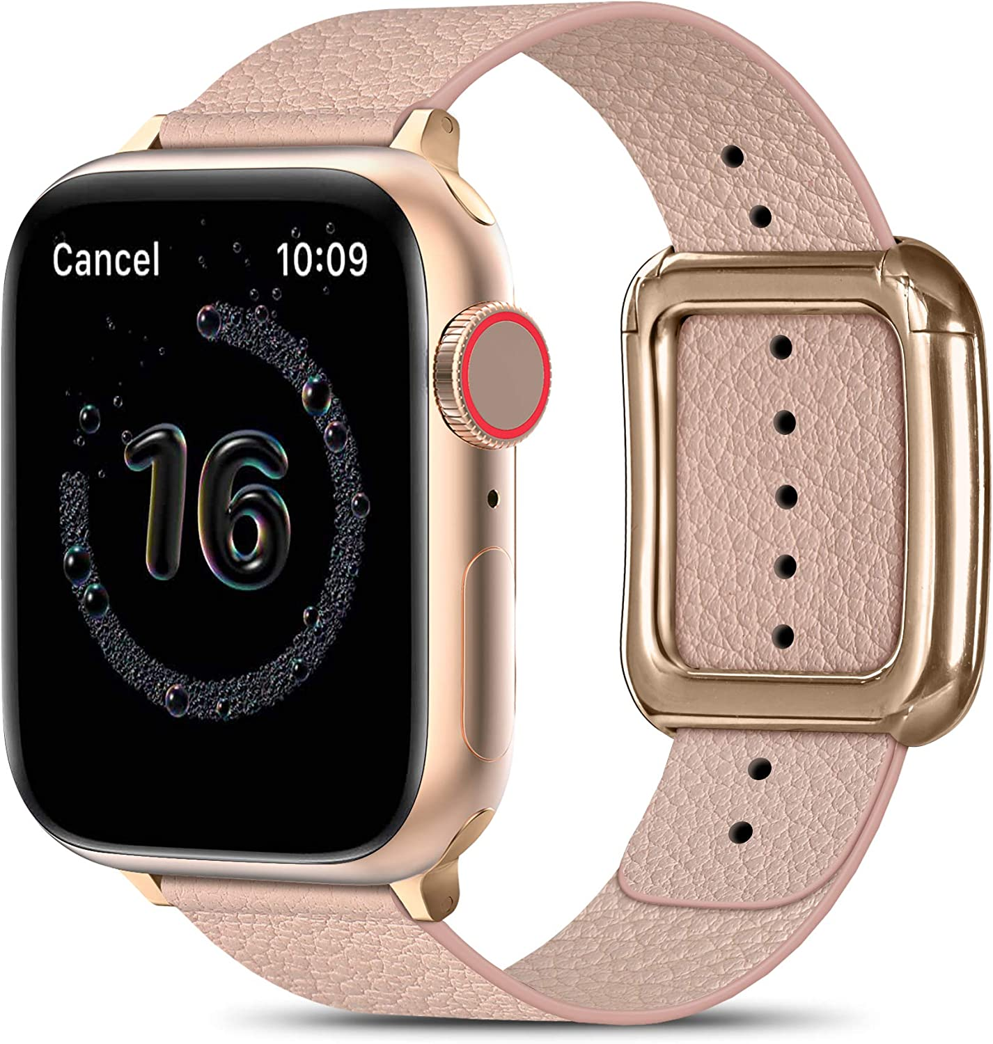 MARGE PLUS Compatible with Apple Watch Bands SE Series 6 5 4 40mm 44mm / Series 3 2 1 38mm 42mm for Men Women, Soft Leather Replacement with Magnetic Clasp for Apple Watch Band - Pink/Rose Gold