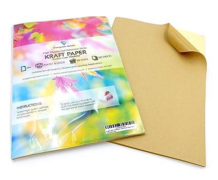 20 feuilles détiquettes autocollantes pour impression dadresses en papier kraft A4 mat