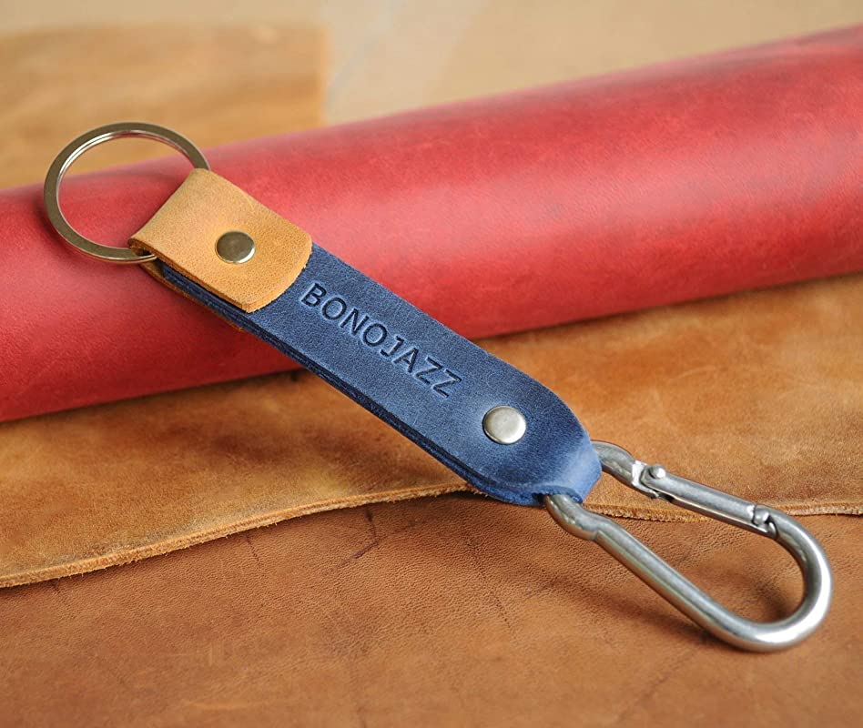 Blue Orange Leather key chain Personalized Monogram Your Name carabine holder