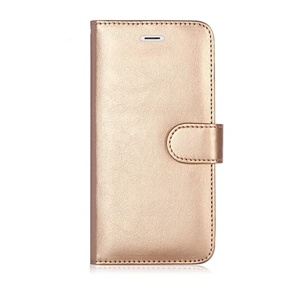 452b744b4c0f Premium Leather iPhone 7 Plus, 8 Plus Case, RFID Blocking wallet, iPhone 7  Plus Wallet Case Stand Cover With Credit Card Protector (Gold)