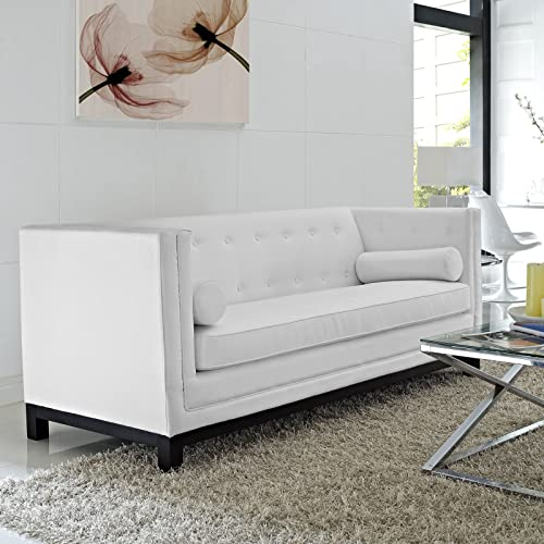 Modway Imperial Bonded Leather Living Room, Sofa, White