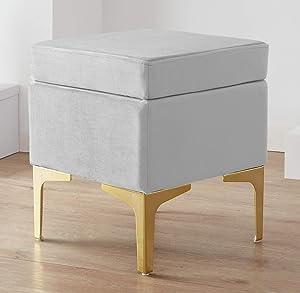 Ornavo Home Madison Modern Contemporary Square Upholstered Velvet Ottoman - Vanity Chair - Gold Metal Legs - Silver