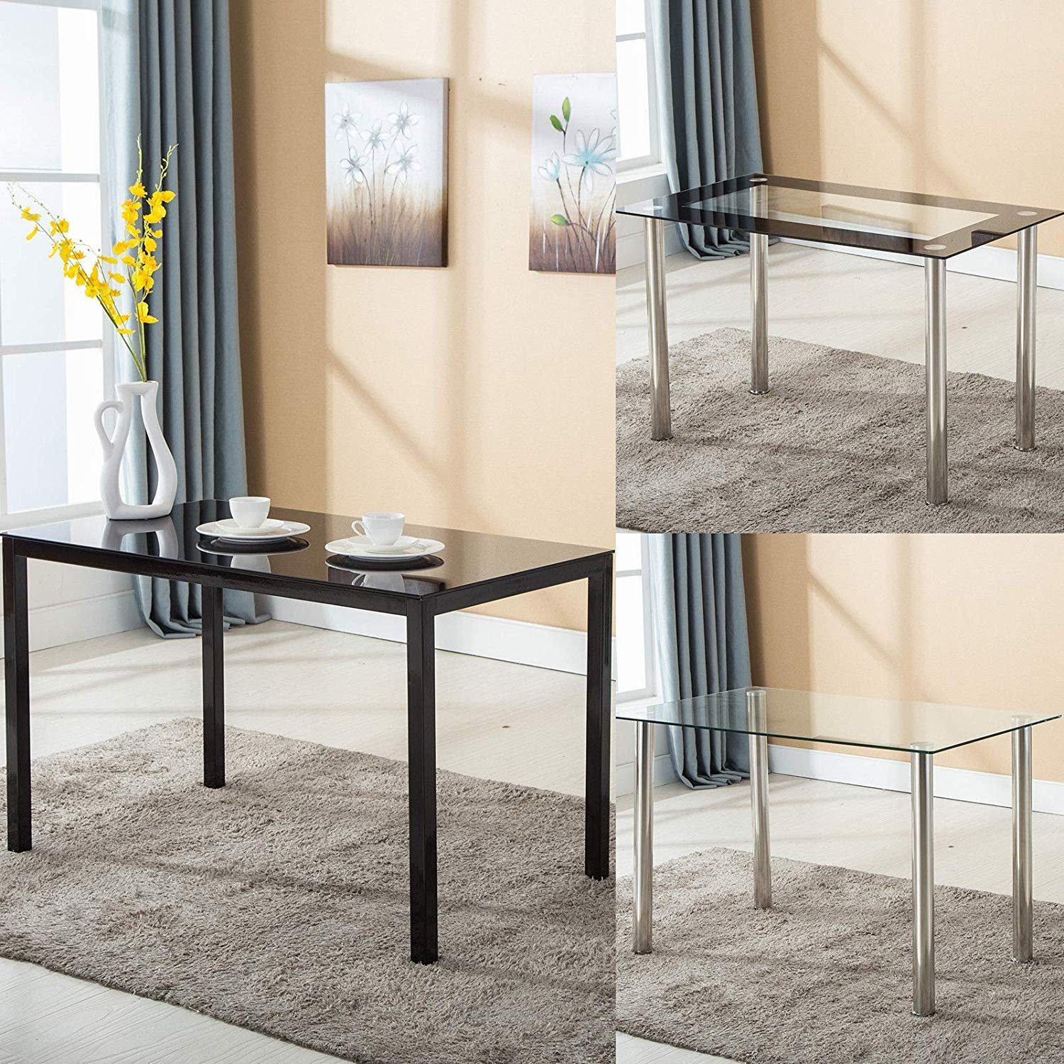 Mecor Dining Table Modern Minimallist Glass Kitchen Table Rectangular Transparent Metal Legs 47IN for 4/6 Persons,Clear by Mecor (Image #2)