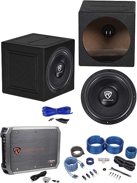 Rockville W12K6D2 V2 - Subwoofer para coche de 12 pulgadas y caja sellada + amplificador mono + kit de amplificador: Amazon.es: Instrumentos musicales