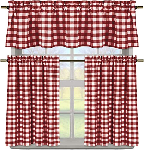 Duck River Textile Buffalo Plaid Gingham Checkered Premium Cotton Blend Kitchen Curtain Tier Valance Set, Burgundy Red White