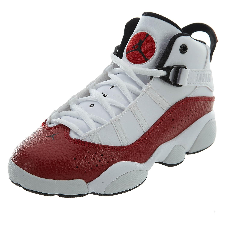 NIKE PS Boys' Jordan 6 Rings Basketball schuhe Weiß schwarz-Gym rot 11.5C
