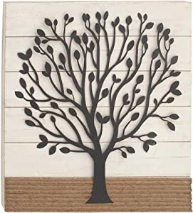 "Deco 79 22642 Wood, Metal, and Rope Wall Decor, 36"" x 32"", White/Black/Brown"
