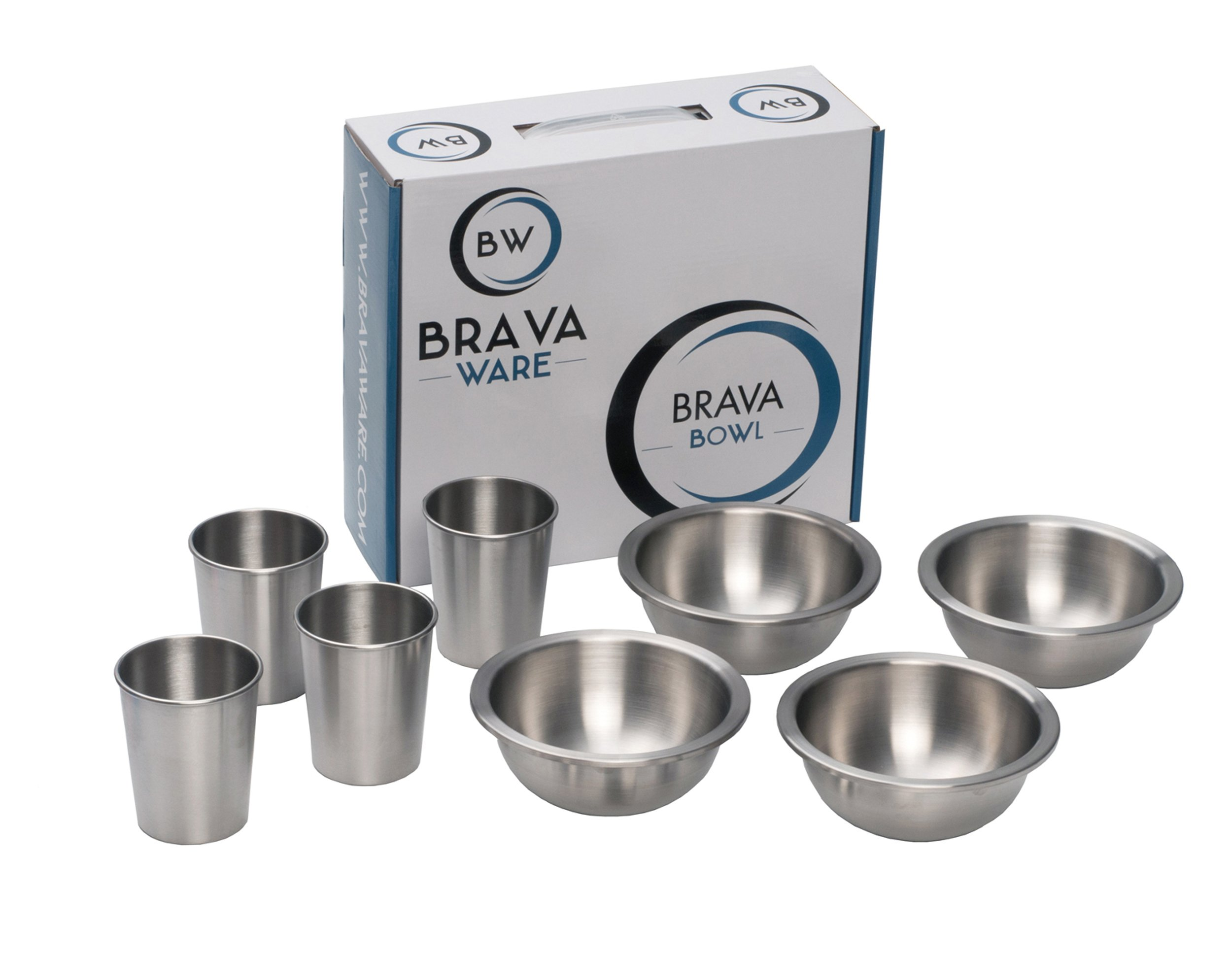 Stainless Steel Bowls and Cups 8 Piece Set: 4 Stainless Steel Bowls and 4 Stainless Steel Cups for Children Toddlers and Babies - Stainless Steel Cup and Bowl Set for Camping, Picnics and RV by BravaWare