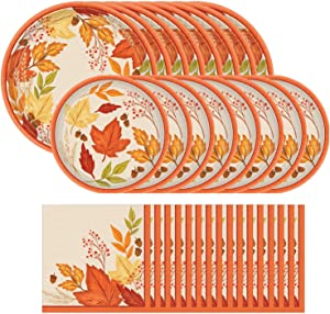 Amscan Fall Foliage Dinnerware Bundle | Plates, Napkins | Outdoor Birthday Party, Autumn Theme Supplies, Garden Party Decor | Officially Licensed by Amscan