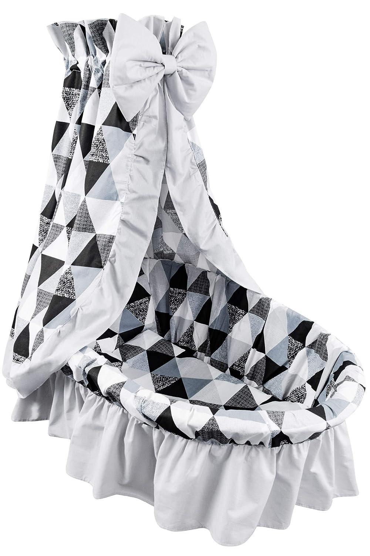 Dreiecken Grau//Hellgrau Amilian 9tlg Textile Ausstattung f/ür STUBENWAGEN mit Himmelstange Bollerwagen Himmel Matratze Baby Bettw/äsche f/ür Kinderzimmer Design