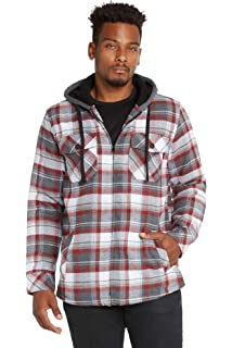 18950560ad2f86 Rude XXX Red Buffalo Plaid   Fleece Sleeves Hooded Woven Button-Up ...