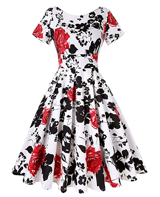 8efa73b1a12c1 ROOSEY Women's Vintage Floral Print Short Sleeve A Line Cocktail Party  Swing Dress, Pattern 1