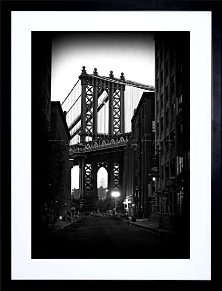 9x7 inch brooklyn bridge black white architecture photo framed wall art print picture painting wooden photo
