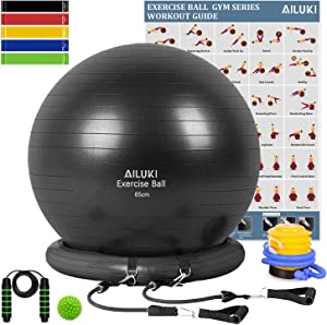 AILUKI Yoga Ball, Exercise Ball Fitness Balls Stability Ball Anti-Slip & Anti- Burst for Yoga,Pilates, Birthing, Balance & Fitness with Workout Guide & Quick Pump