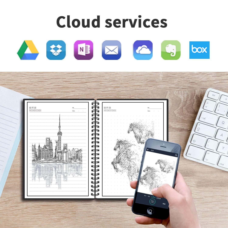 Tama/ño A5 Borrable Cuaderno Almacenamiento en la nube para Estudiante Arquitecto Periodista Escritor PU-marr/ón Cuaderno inteligente Reutilizable