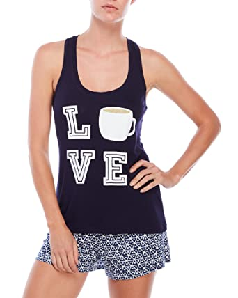 2f67eb65b87d Tart Intimates Love Coffee Cup Tank Top   Shorts Pajama Lounge Set ...