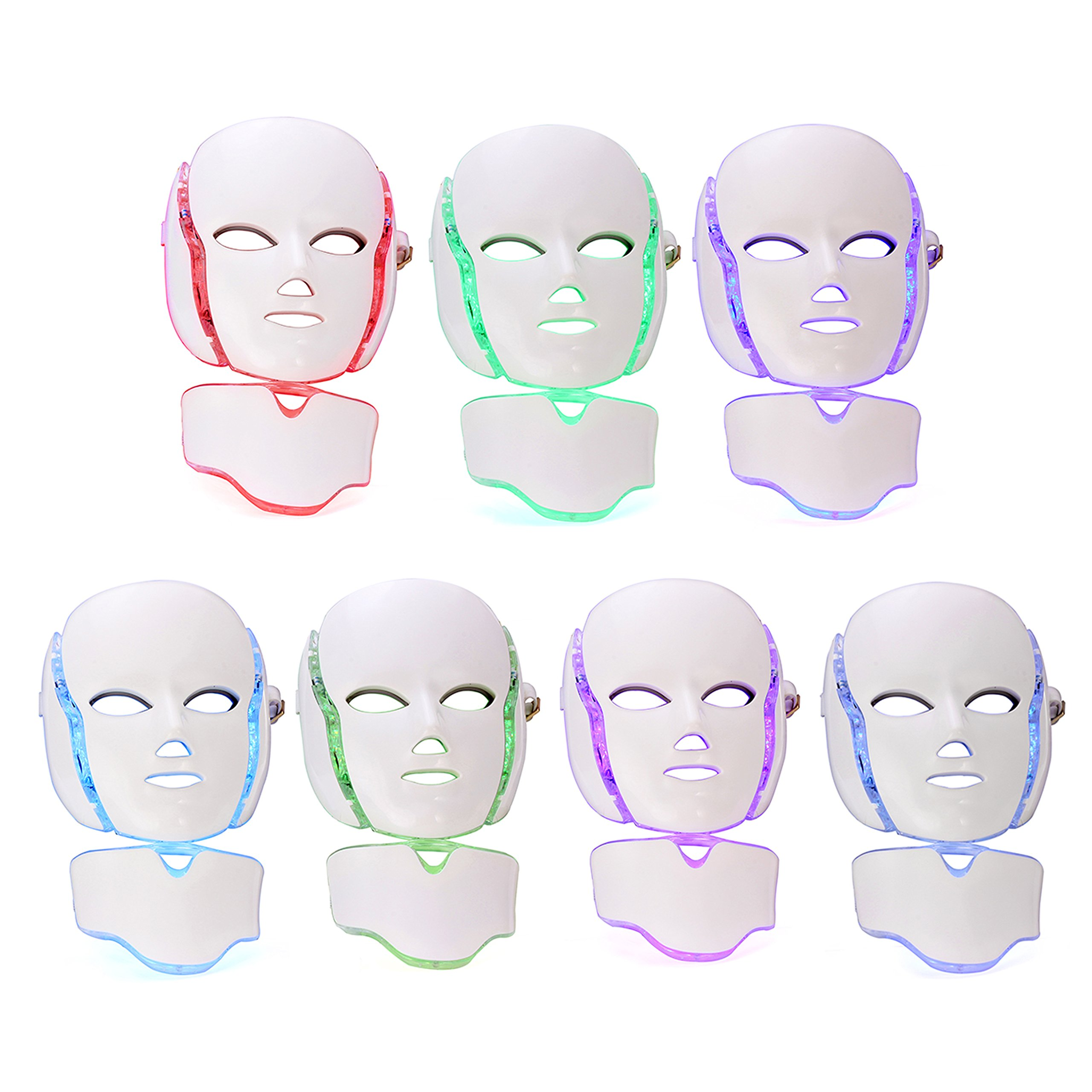 LED Photon Therapy Mask with 7 Color Light Treatment | Face Beauty Skin Care Phototherapy Mask by GlobalCareMarket (With Neck)