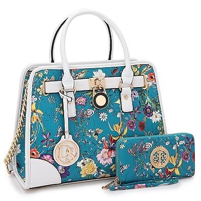 Medium Satchel 2 Pieces Purse Set Designer Handbag Top Handle Shoulder Bag  Padlock Blue Floral 898aa8d2eb1b1