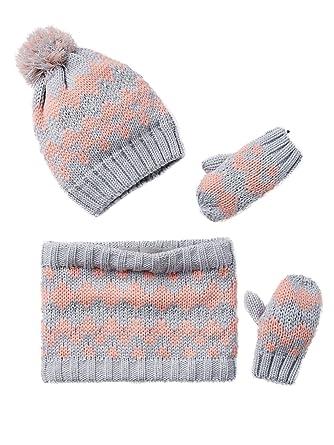 a477f3a8e8c Vertbaudet Bonnet fille + snood + moufles ou gants jacquard Gris clair  12 14 A
