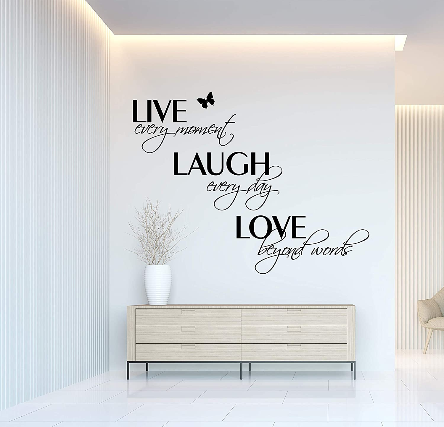 Live Every Moment Laugh Every Day Love Beyond Words Family Wall Decals Quotes Sayings Stickers Words Art Decor Lettering Vinyl Wall Art Inspirational (25Hx35W Matte Black)