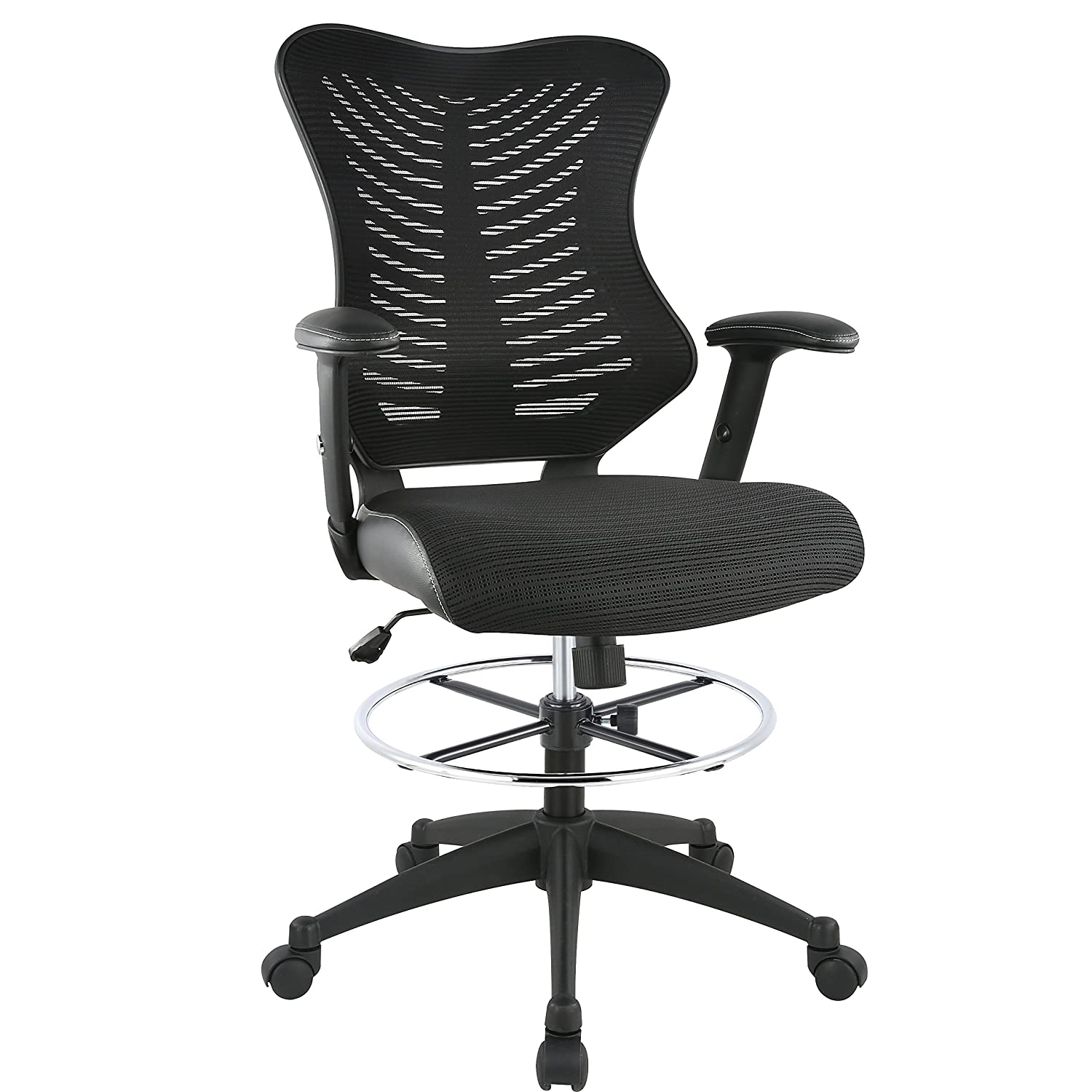 Poly and Bark Correna Drafting Chair in Mesh, Black