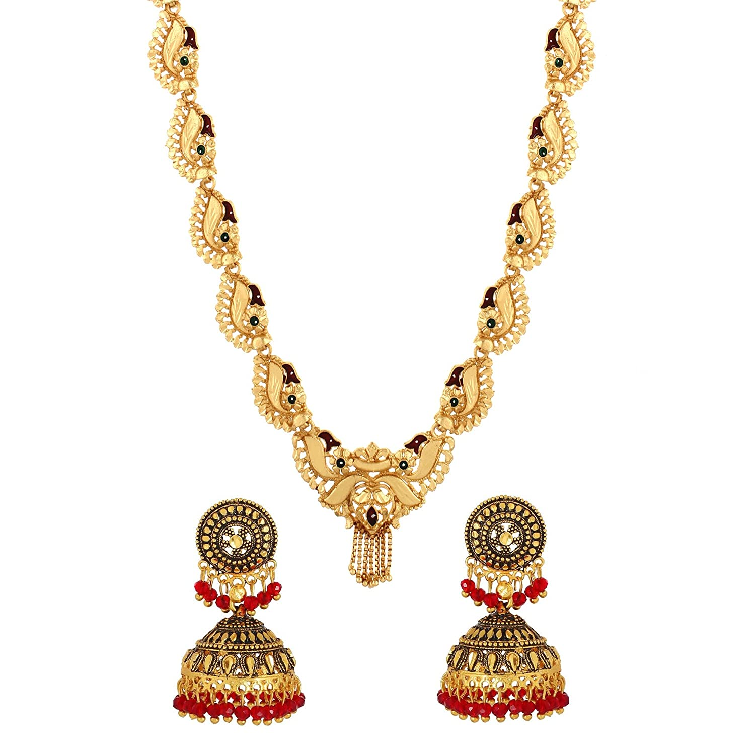 ad7eb4866 Buy Gold Nera Necklace Set Gold Plated with Anique Jhumka Earrings for Women  Girls Online at Low Prices in India | Amazon Jewellery Store - Amazon.in