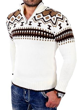 11f0eabb60ae9b Reslad Herren Strickpullover Crewneck Zipper Norweger Pullover RS-3110   Amazon.de  Bekleidung