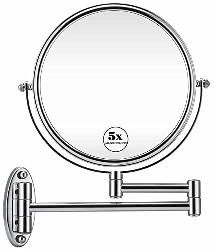 GloRiastar 5X Wall Mounted Makeup Mirror – Double Sided Magnifying Makeup Mirror for Bathroom, 8 inch Extension Polished Chrome Finished Mirror