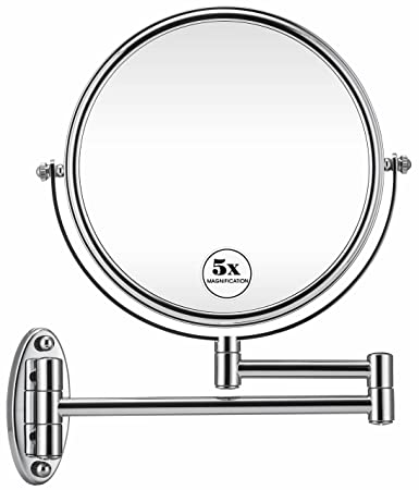 Wall Mounted Magnifying Makeup Mirror.Gloriastar 5x Wall Mounted Makeup Mirror Double Sided Magnifying Makeup Mirror For Bathroom 8 Inch Extension Polished Chrome Finished Mirror
