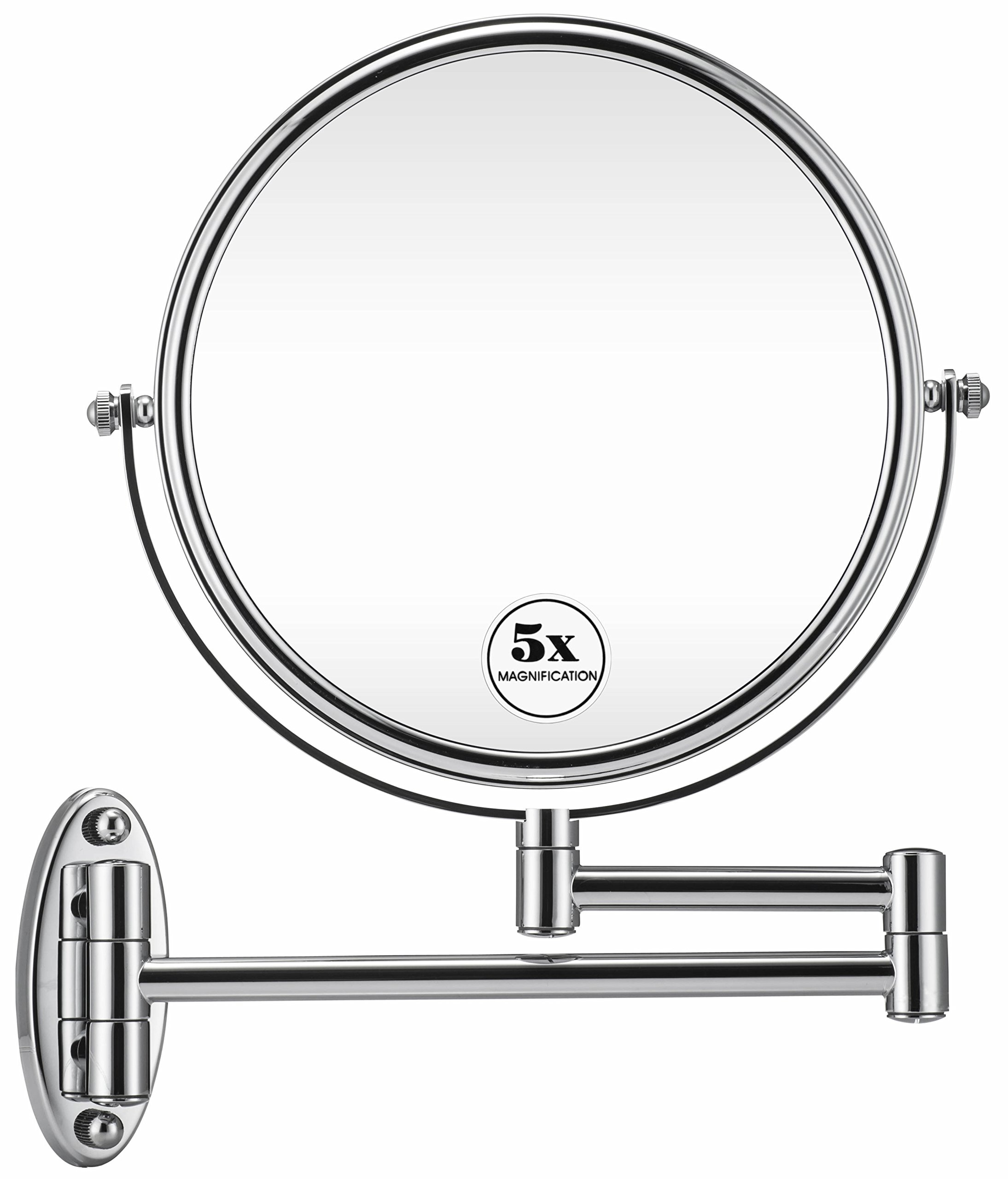 GloRiastar Wall Mount Makeup Mirror,1x/5x Magnification, 8-Inch,Chrome
