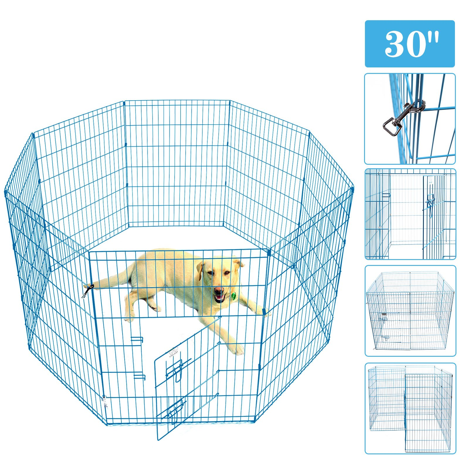 Idealchoiceproduct Pet Playpen Pet Pen Folding Wire Dog Exercise Pen Pet Fence Yard Fence 8 Panel Cage 24-42 Inch-Blue Color by Idealchoiceproduct