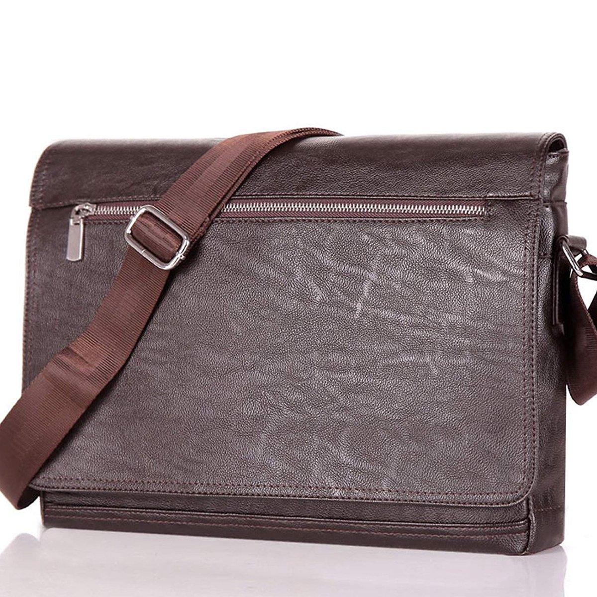 Men Laptop Computer Messenger Bag Soft Leather Briefcase Shoulder Crossbody Bag (Brown)