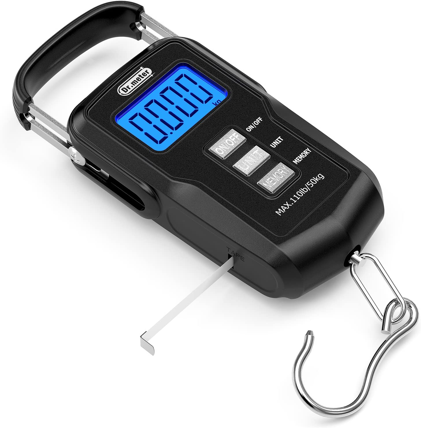 [Upgraded] Dr.meter FS01 Fishing Scale, 110lb/50kg Digital Hanging Scale with Backlit LCD Display, Measuring Tape and 2 AAA Batteries