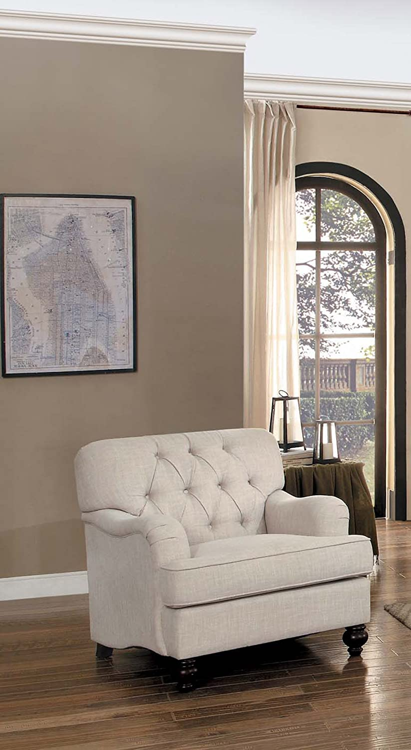 Homelegance Clemencia Classic Button Tufted English Arm Chair with Turned Legs and Linen-Like Cover, Cream